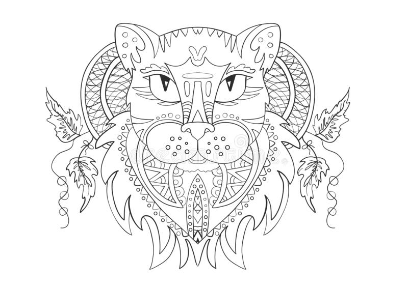 The head of a panther cat. Zentangle. Coloring page. Print. Vector illustration royalty free stock images