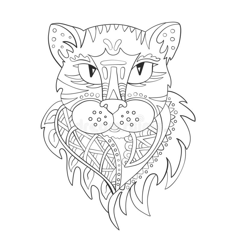 The head of a panther cat. Zentangle. Coloring page. Print. Vector illustration royalty free stock photography