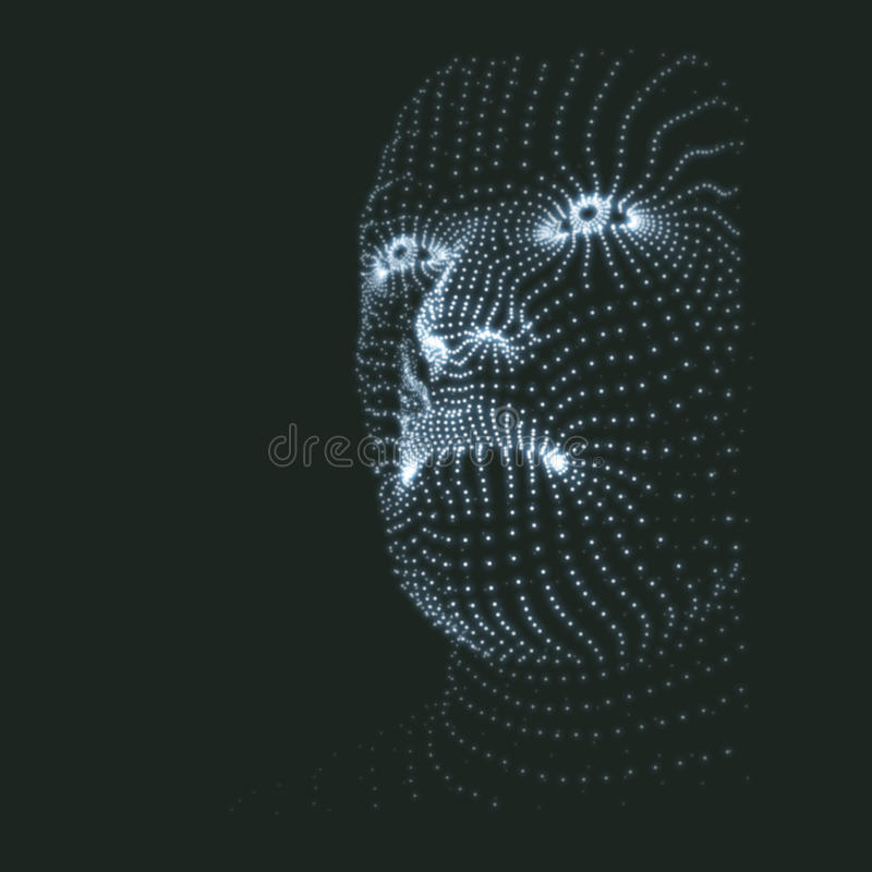 Head of the Person from a 3d Grid. Human Head Model. Face Scanning. View of Human Head. 3D Geometric Face Design. 3d Covering Skin royalty free illustration