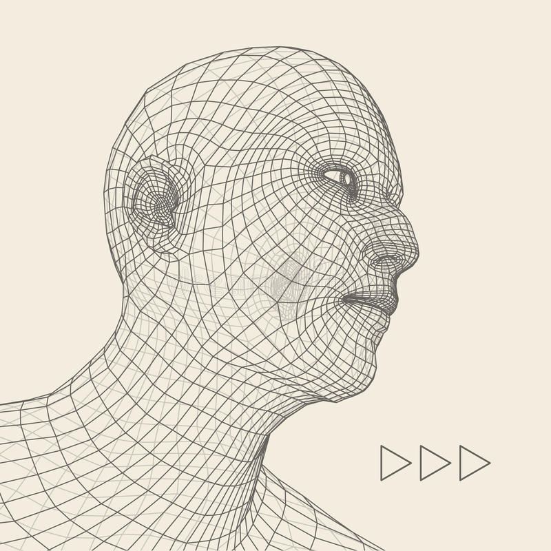 Head of the Person from a 3d Grid. Human Head Wire Model. Human Polygon Head. Face Scanning. View of Human Head. 3D Geometric Face vector illustration
