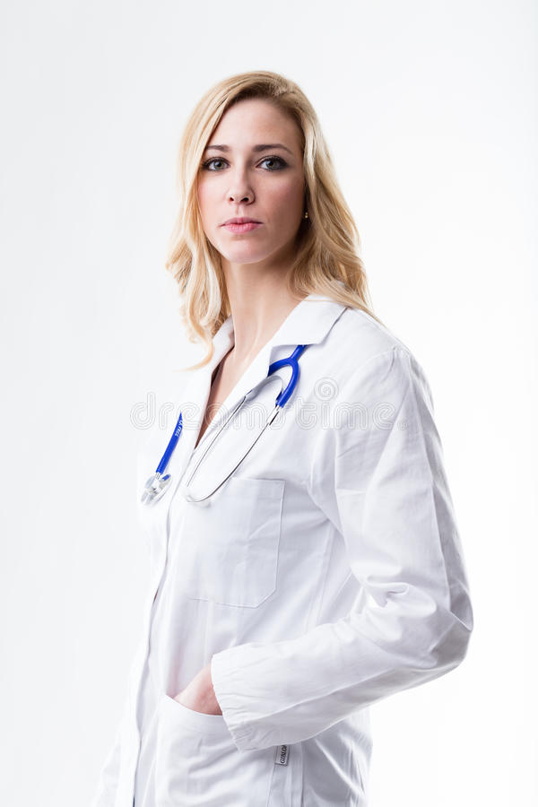Head physician is a blond woman stock image