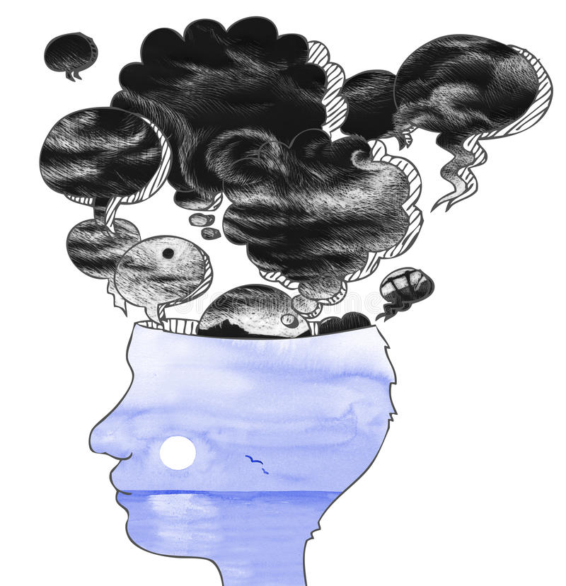 Head profile with balloons of bad thoughts. Concept illustration of quiet man with open mind and black stormy thoughts flying away vector illustration