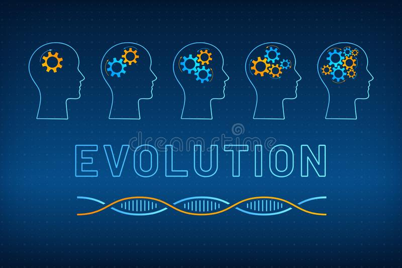 Head profile with gear brain evolution concept. Head silhouette with gear brain evolution concept vector illustration. Face profile with evolving gear mechanism vector illustration
