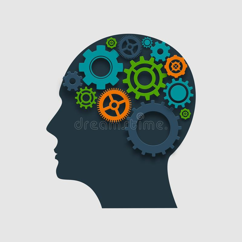 Head Profile With Gears vector illustration