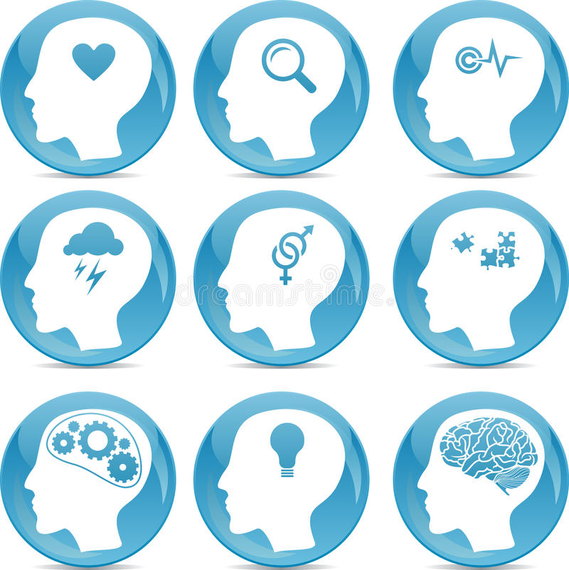 Head profile icons stock illustration