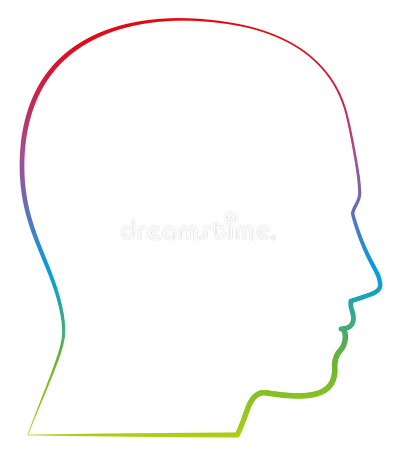 Head Profile View Colored Outline Illustration. Head, profile view - colored outline vector illustration on white background stock illustration