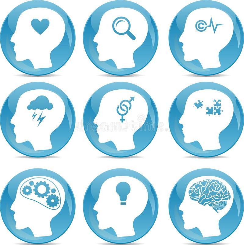 Head profilsymboler stock illustrationer