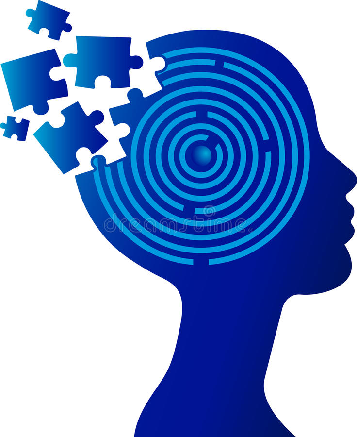 Head puzzle. Illustration art of a head puzzle with isolated background