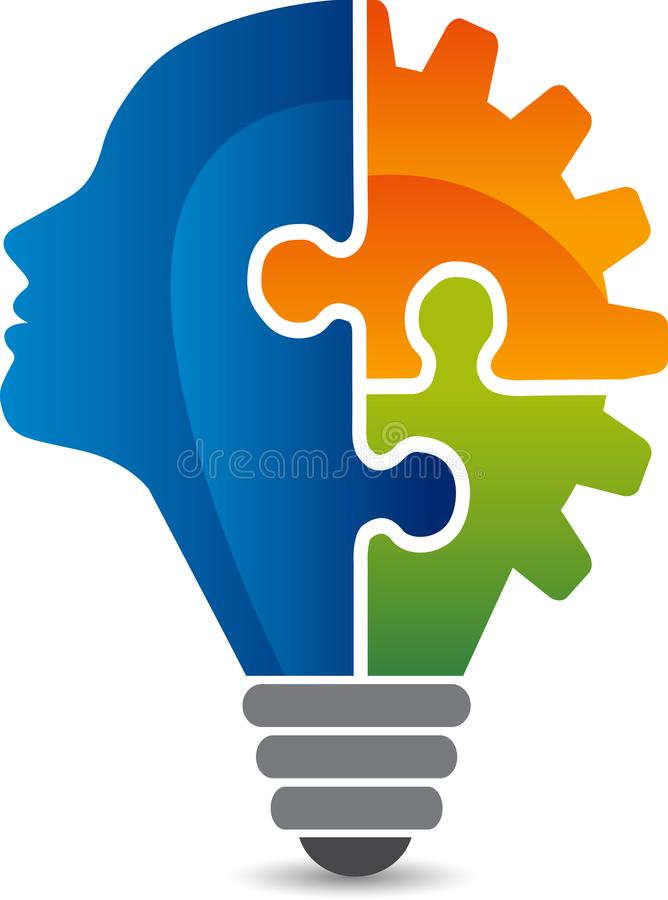 Head puzzle logo royalty free illustration