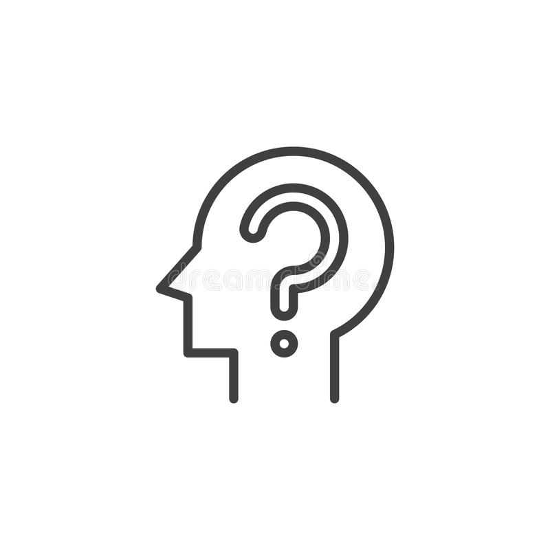 Head with question mark outline icon. Linear style sign for mobile concept and web design. Confusion simple line vector icon. Symbol, logo illustration. Pixel stock illustration