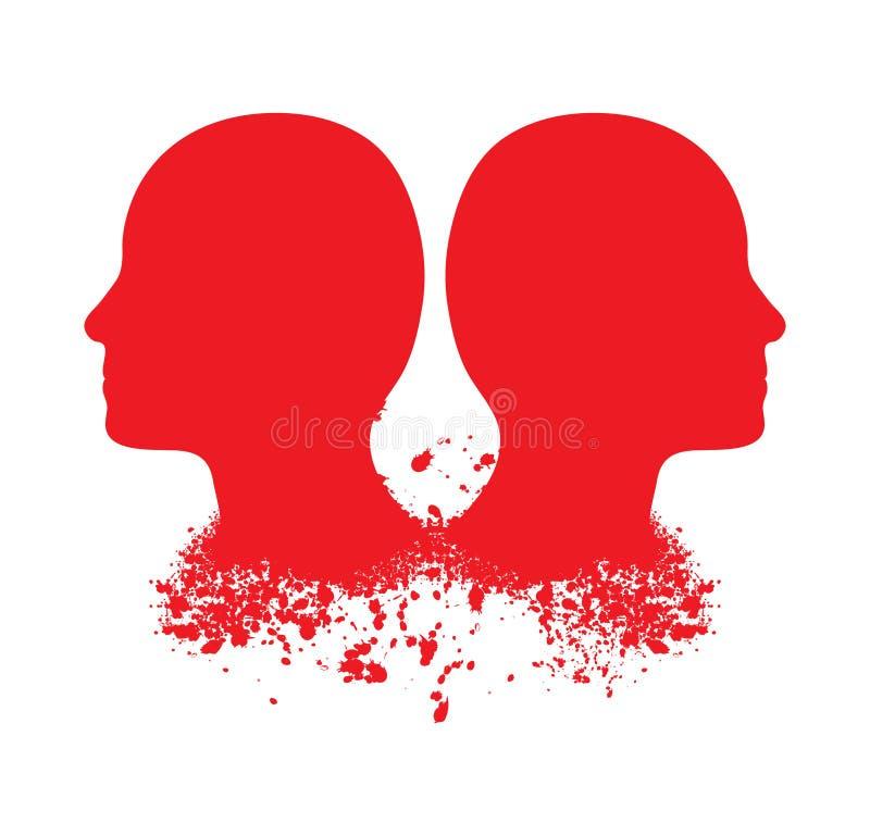 head röda silhouettes royaltyfri illustrationer