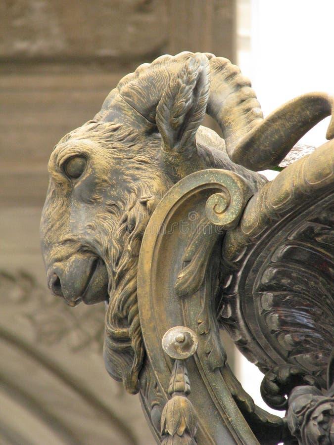 Head of ram sculpture architecture. Ram animal, Istanbul Turkey, wild stock photo