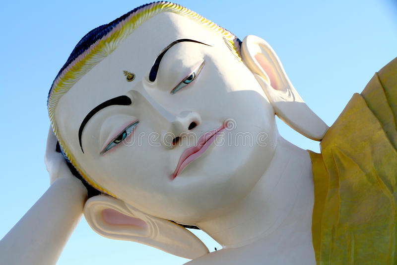Head of Reclining Buddha , Bago in Myanmar royalty free stock image
