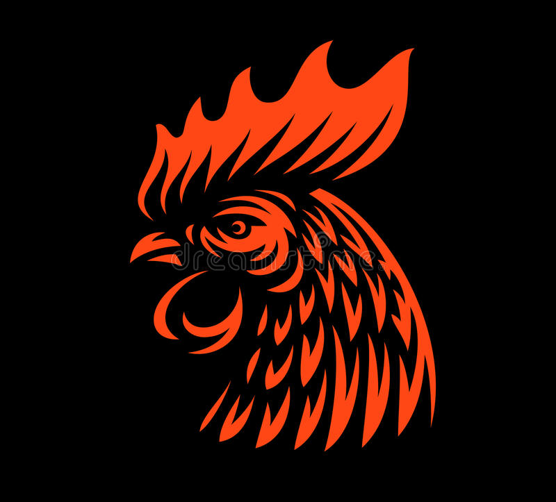 Head rooster illustration on dark background royalty free illustration