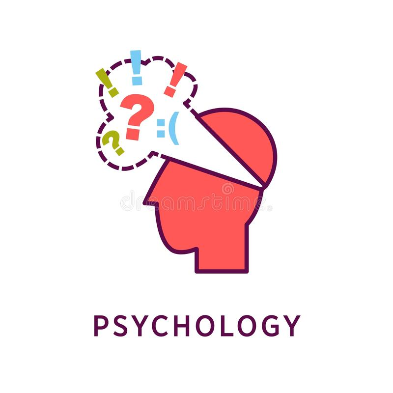 Head with sad thoughts. Vector illustration of red colored abstract head with sad thoughts cloud and psychology word on the white background royalty free illustration