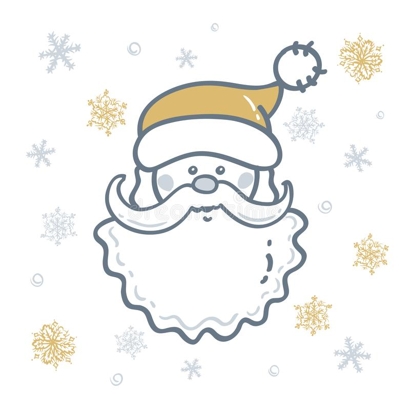 Head of Santa Claus the background of snowflakes in gold - silver tones. Elements for Christmas design. Raster version illustration vector illustration