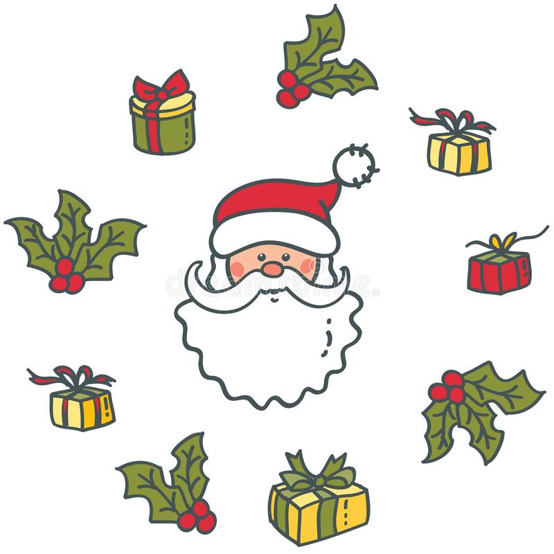 Head of Santa Claus and gifts. Elements for Christmas and New year stock illustration