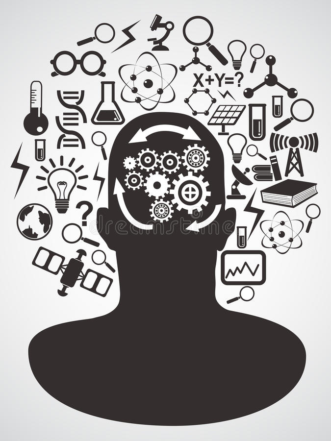 Head with science icons set stock illustration