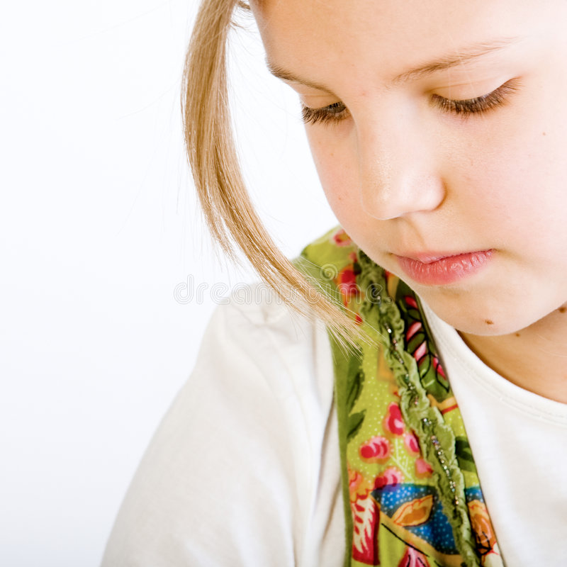 Download Head Shot Of A Blond Young Girl Looking Down Stock Photography - Image: 4011672