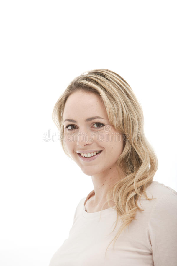 Head shot of a blonde woman on a white background stock images