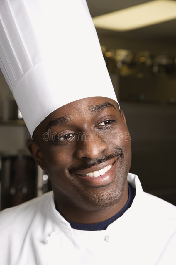 Head shot of chef. stock photos