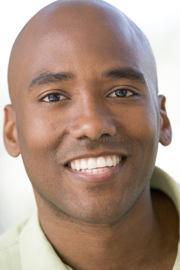 Head shot of man smiling. Looking at camera stock photo