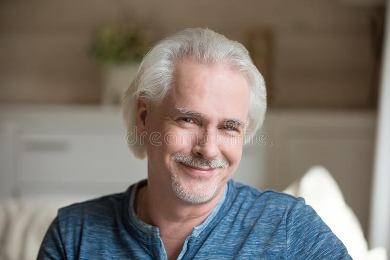 Head shot portrait of confident handsome aged man royalty free stock images