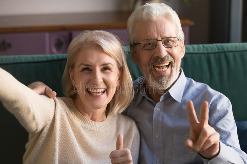 Head shot portrait happy mature man and woman taking selfie stock photo