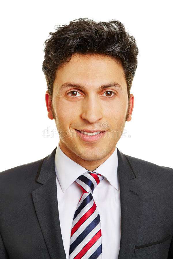 Head shot of smiling business man stock photo