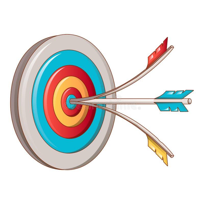Head shot target icon, cartoon style royalty free illustration