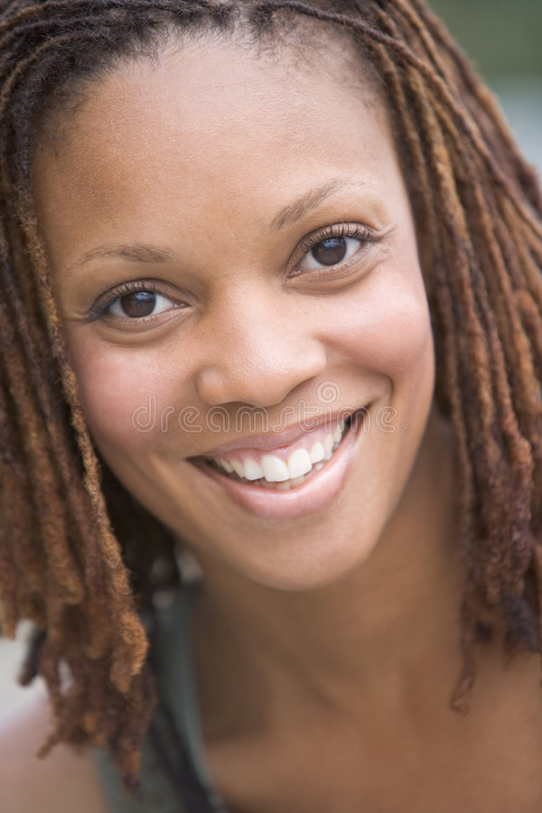 Head shot of woman smiling stock image