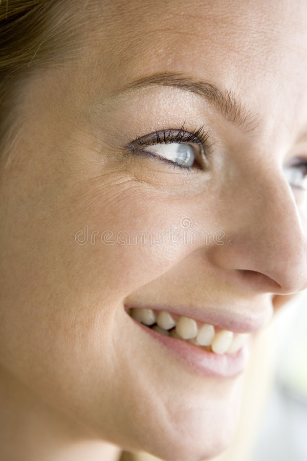 Head shot of woman smiling stock photo