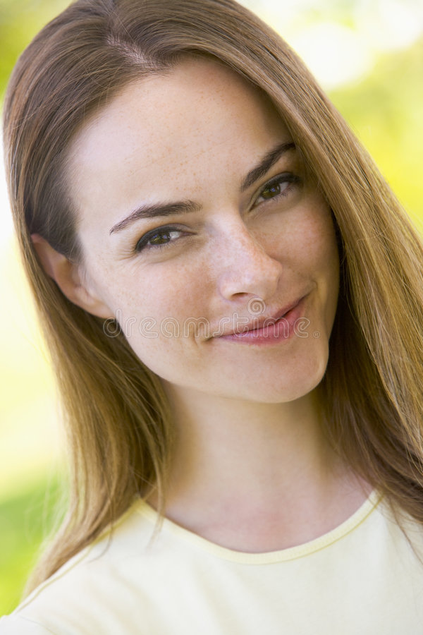Head shot of woman smiling royalty free stock photo
