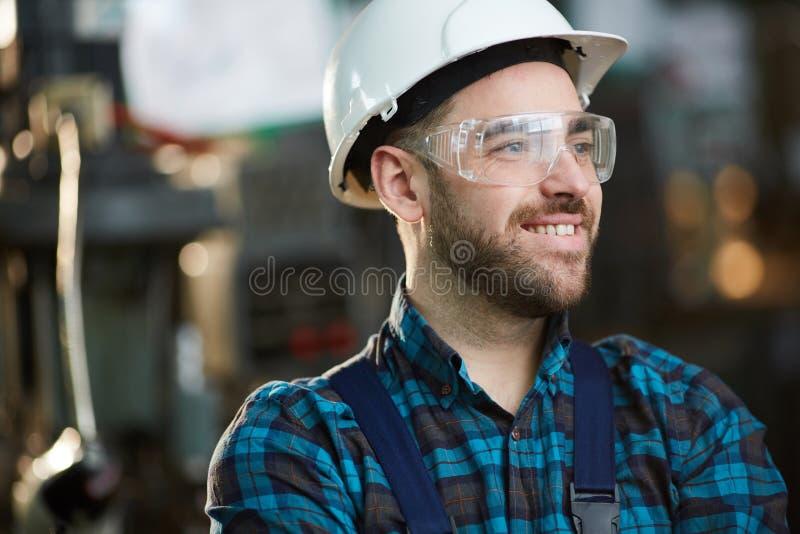 Joyful Factory Worker royalty free stock images