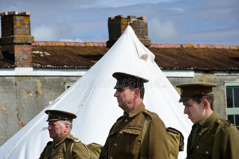 Head and shoulders of three world war one soldiers. STOWE MARIES AIRFIELD ESSEX UK FLYING DAY: May 14 2014, Head and shoulders of three world war one soldiers stock photo
