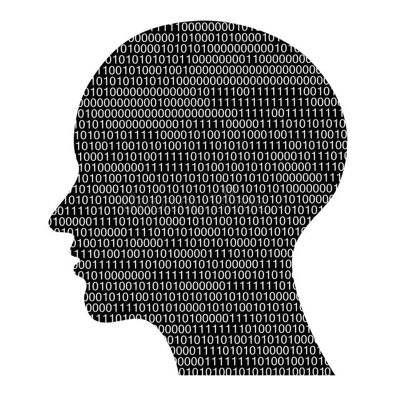 Head silhouette with binary code stock illustration