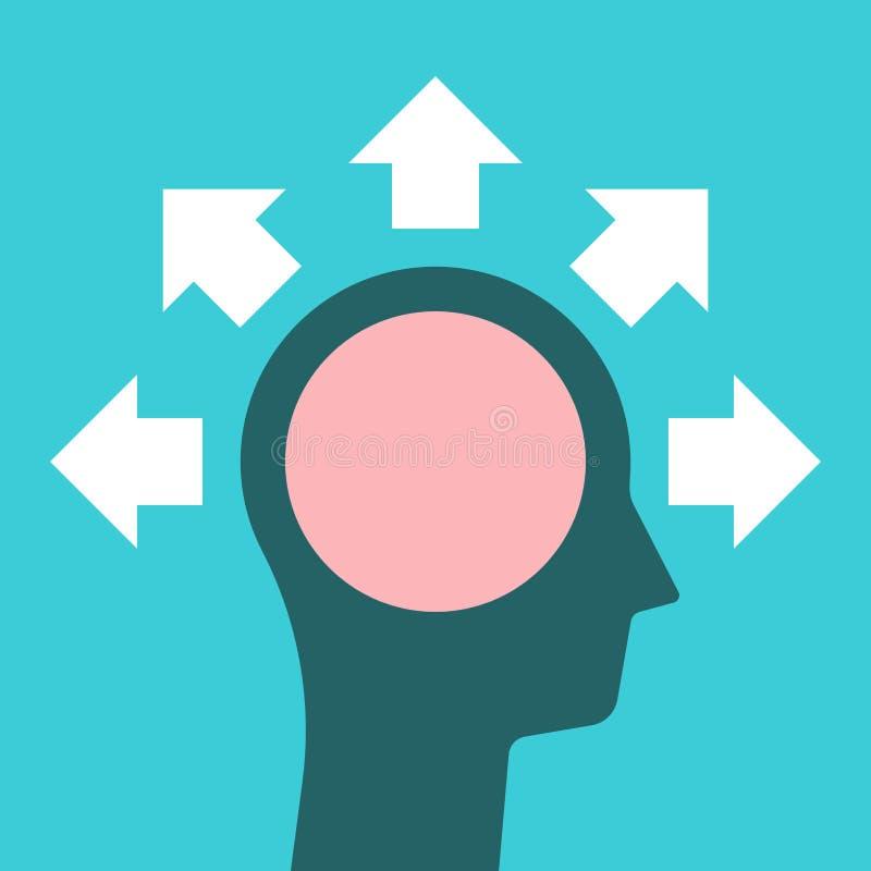 Head silhouette, brain, arrows vector illustration
