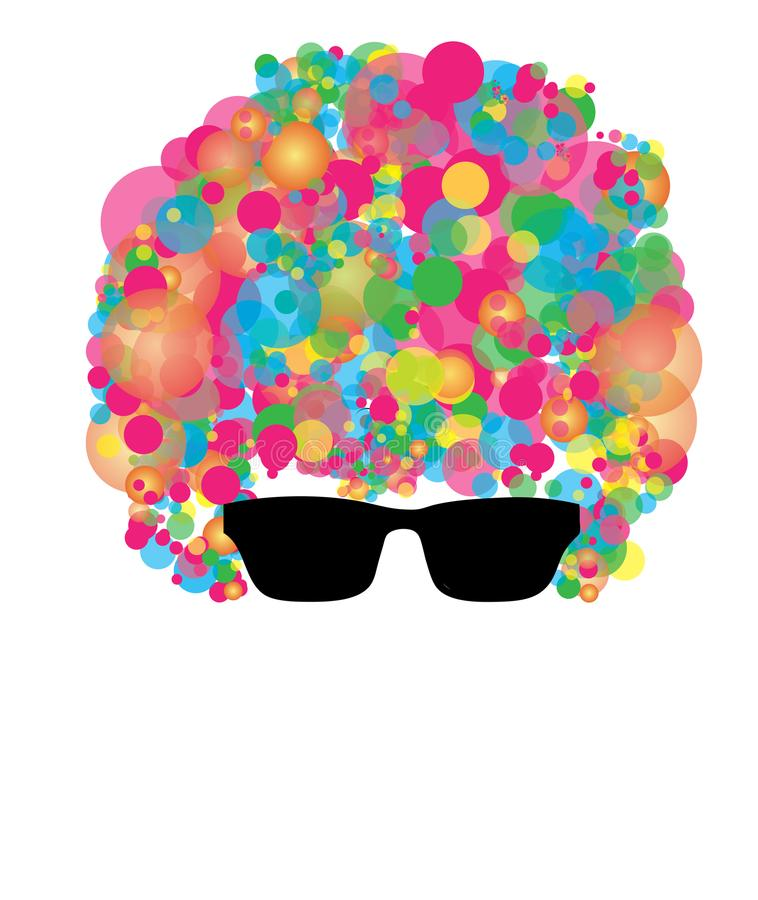 Head silhouette with clown colourful curly hair and black glasses isolated picture royalty free illustration