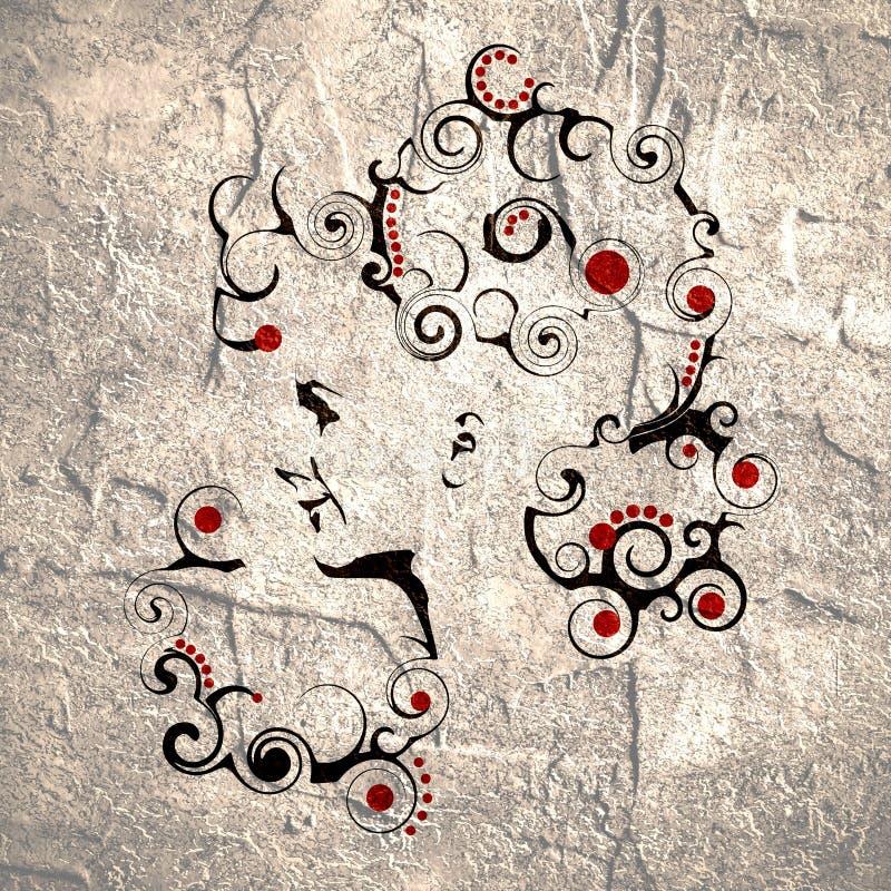 head silhouette för kvinnlig Framsidasidosikt Utsmyckad frisyr stock illustrationer