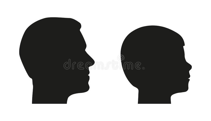Head Silhouette From Father And Son - Man And Boy Vector Edition - Isolated On White Background royalty free illustration