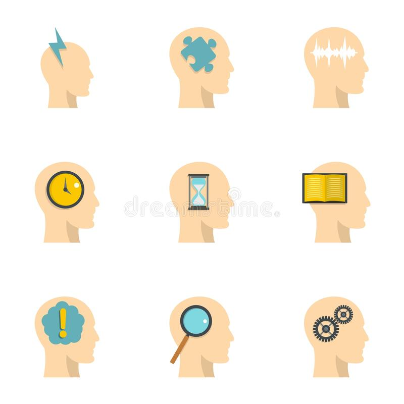 Head silhouette with gear icons set, flat style stock illustration