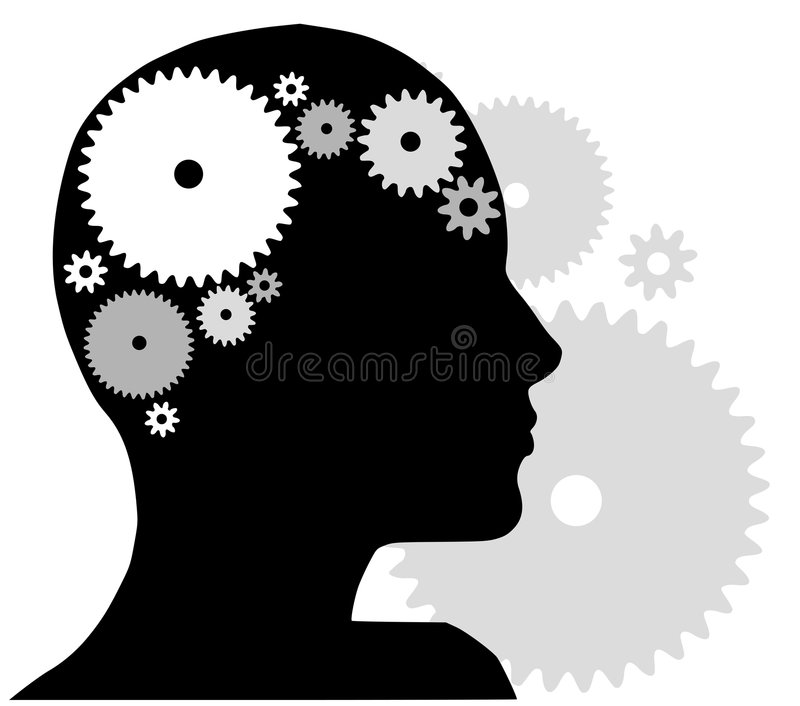 Head Silhouette With Gears. An illustration featuring a head silhouette with gears to represent concepts in thought, behaviour, mental health , creativity, and/ vector illustration