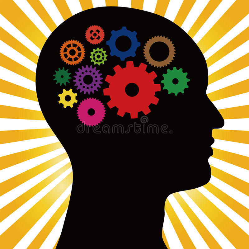 Head Silhouette With Gears vector illustration