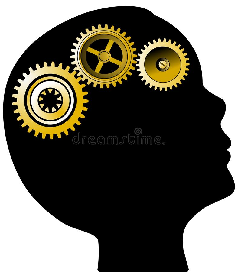 Download Head Silhouette And Golden Gears Stock Vector - Image: 9843823