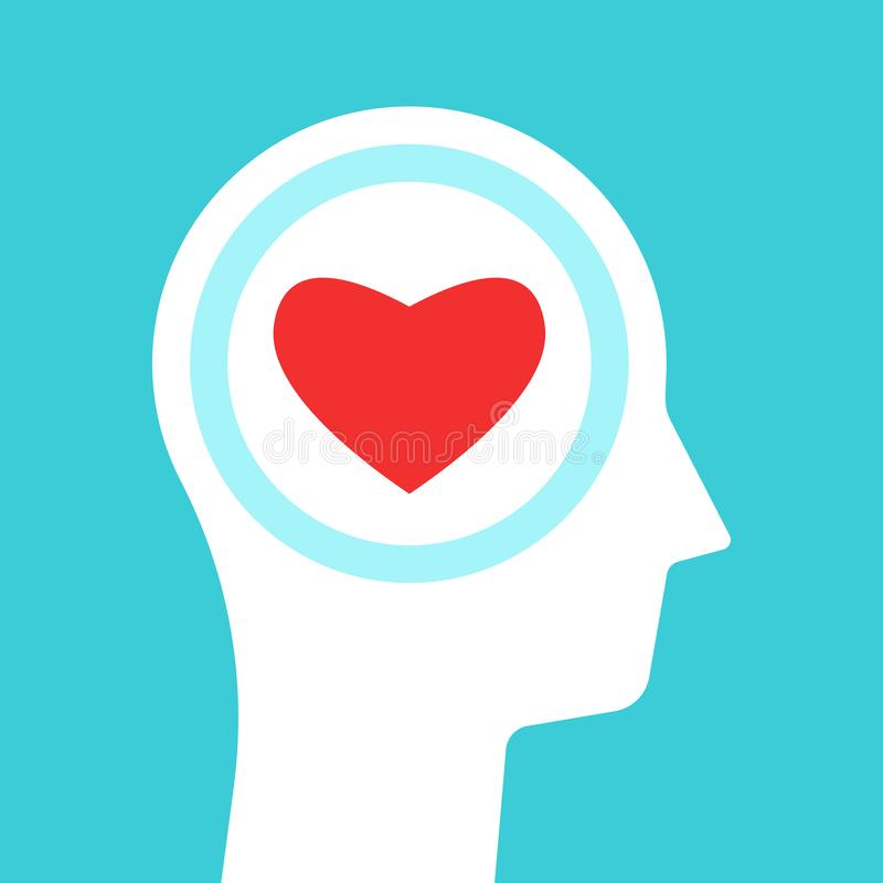 Head silhouette, heart inside stock illustration