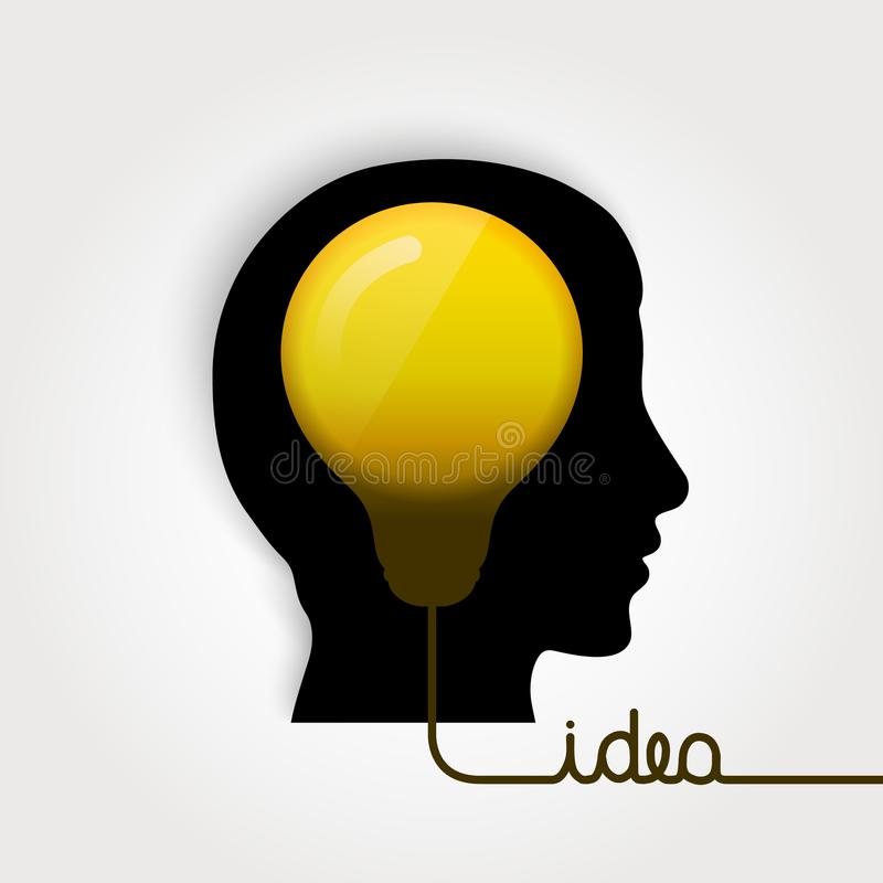 Head silhouette with lightbulb. Idea concept icon. Wire forming to text idea. stock illustration