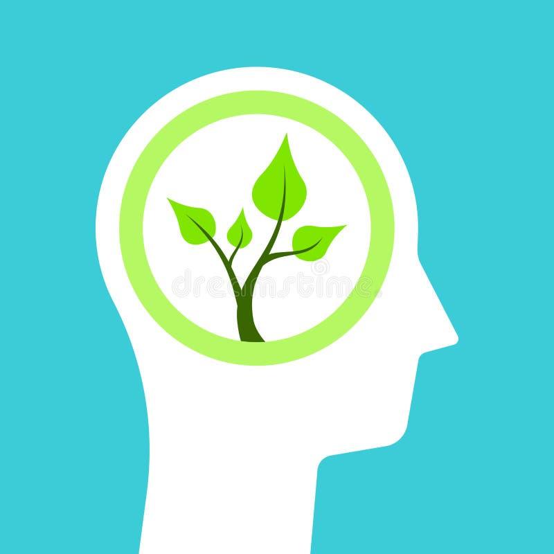 Head silhouette, plant inside royalty free illustration