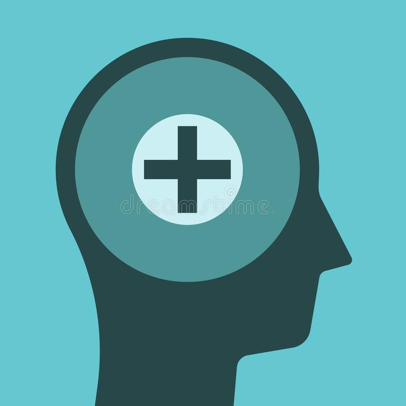 Head silhouette, positive thinking vector illustration