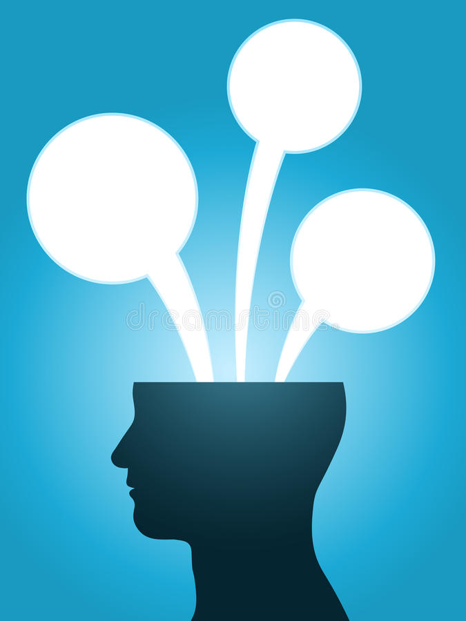 Head silhouette speech bubble thoughts. With copy-space vector illustration