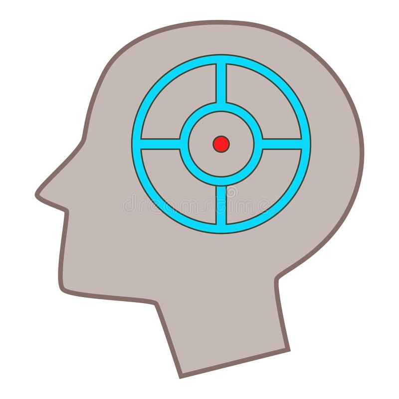 Head silhouette with target inside icon royalty free illustration
